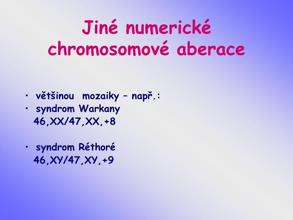 Jiné numerické chromosomové aberace většinou mozaiky – např.: syndrom Warkany 46,XX/47,XX,+8 syndrom Réthoré 46,XY/47,XY,+9