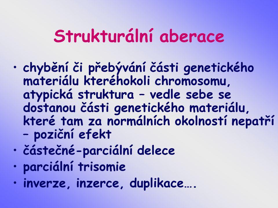 Strukturální aberace chybění či přebývání části genetického materiálu kteréhokoli chromosomu, atypická struktura – vedle sebe se dostanou části genetického materiálu, které tam za normálních okolností nepatří – poziční efekt částečné-parciální delece parciální trisomie inverze, inzerce, duplikace….
