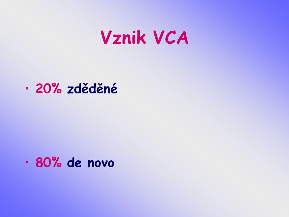 Frekvence VCA Živě narození0,6% Balancované0,2% Nebalancované 0,4% SA50% Mrtvěrozené děti11,1% Novorozenci s VVV15% Nedonošení 2,5%