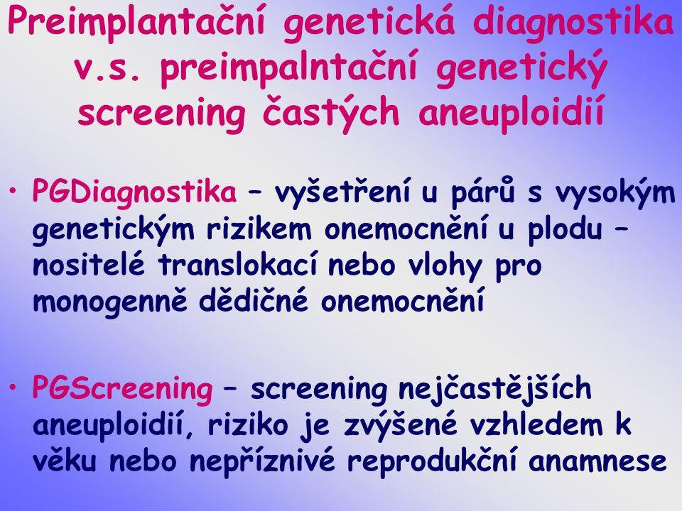 Preimplantační genetická diagnostika v.s. preimpalntační genetický screening častých aneuploidií PGDiagnostika – vyšetření u párů s vysokým genetickým