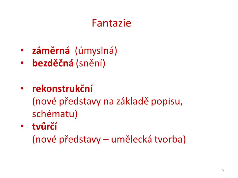 5 Fantazie záměrná (úmyslná) bezděčná (snění) rekonstrukční (nové představy na základě popisu, schématu) tvůrčí (nové představy – umělecká tvorba)