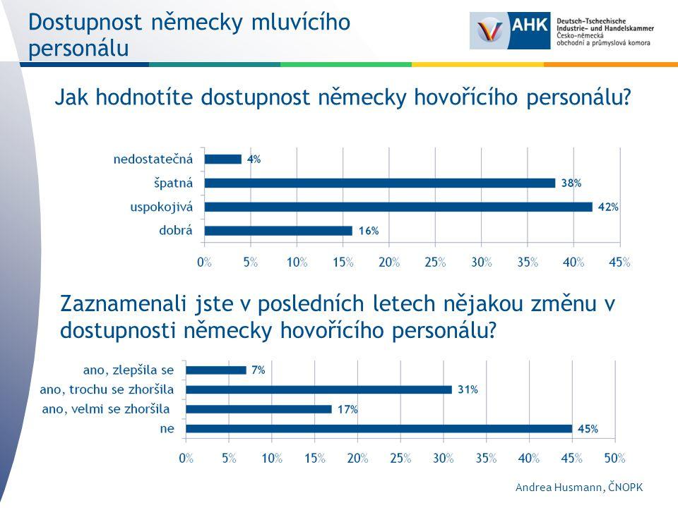 Dostupnost německy mluvícího personálu Zaznamenali jste v posledních letech nějakou změnu v dostupnosti německy hovořícího personálu.