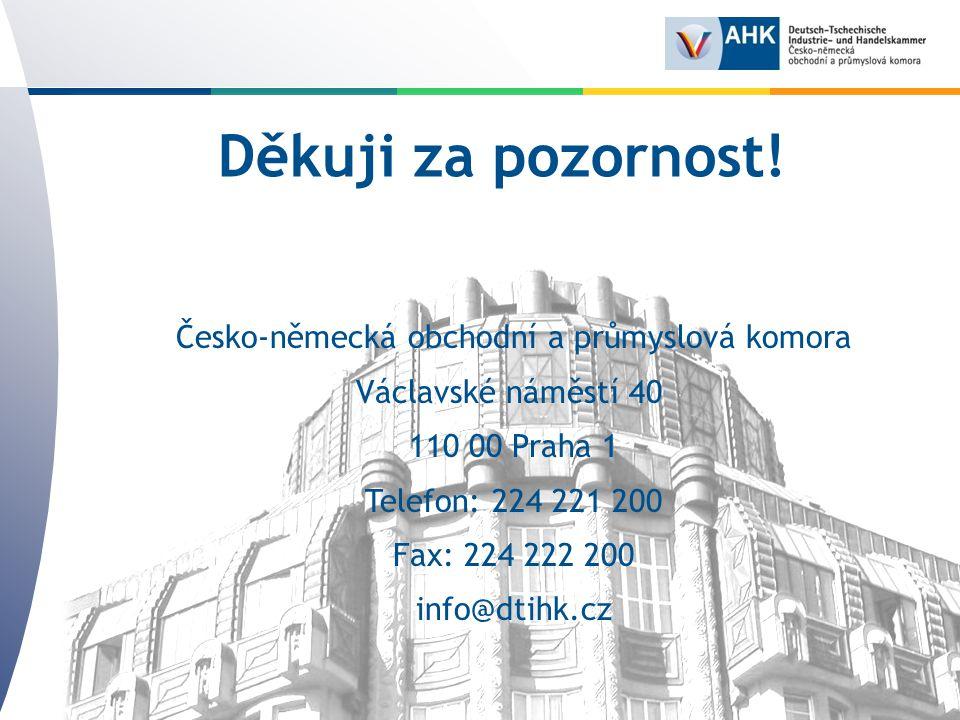 Herzlich Willkommen in der Deutsch-Tschechischen Industrie- und Handelskammer in Prag Děkuji za pozornost.