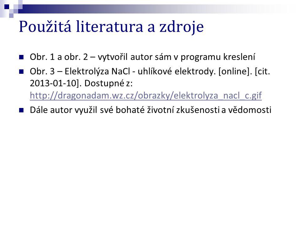 Použitá literatura a zdroje Obr. 1 a obr. 2 – vytvořil autor sám v programu kreslení Obr. 3 – Elektrolýza NaCl - uhlíkové elektrody. [online]. [cit. 2