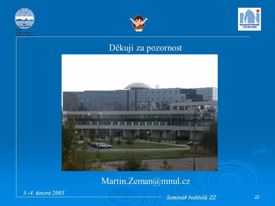 Seminář ředitelů ZZ 3.-4. února 2005 22 Děkuji za pozornost Martin.Zeman@mnul.cz