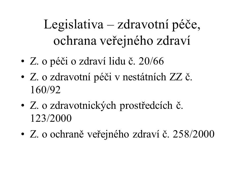 Legislativa – zdravotní péče, ochrana veřejného zdraví Z.