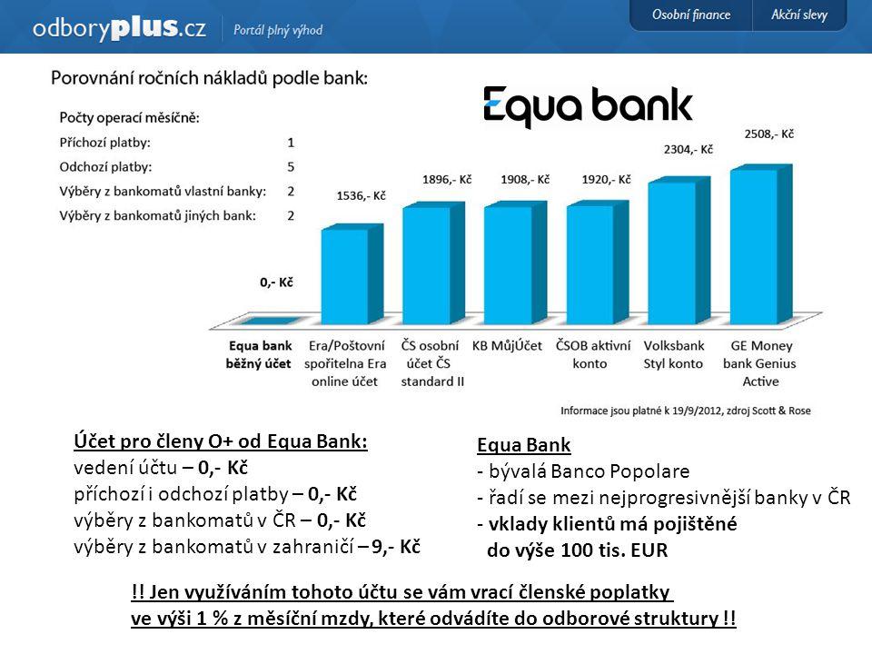Účet pro členy O+ od Equa Bank: vedení účtu – 0,- Kč příchozí i odchozí platby – 0,- Kč výběry z bankomatů v ČR – 0,- Kč výběry z bankomatů v zahranič