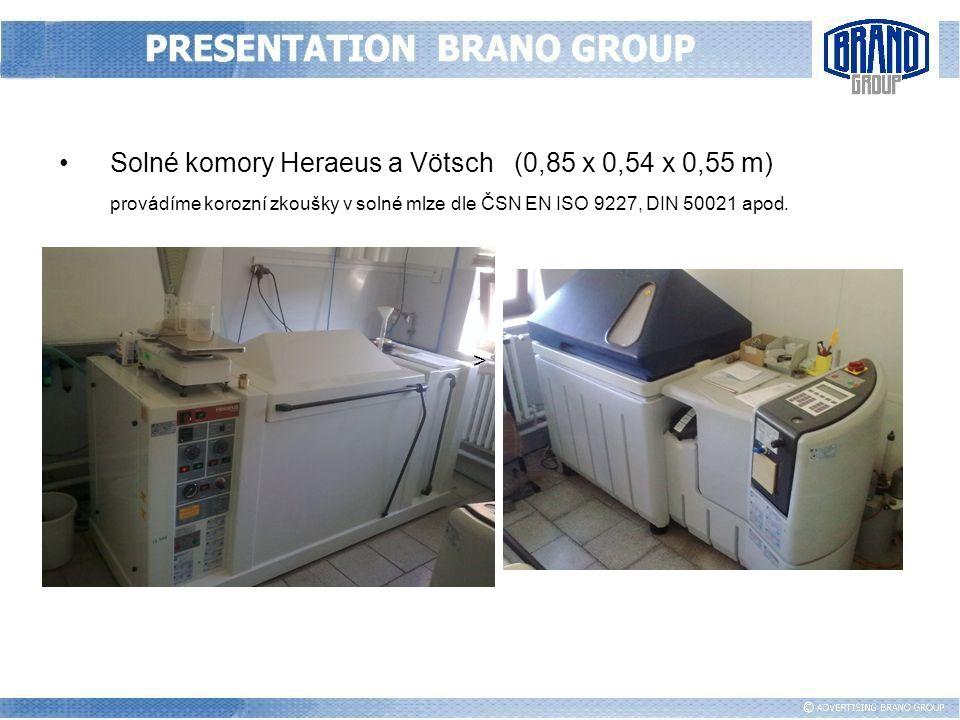 Solné komory Heraeus a Vötsch (0,85 x 0,54 x 0,55 m) provádíme korozní zkoušky v solné mlze dle ČSN EN ISO 9227, DIN 50021 apod. >