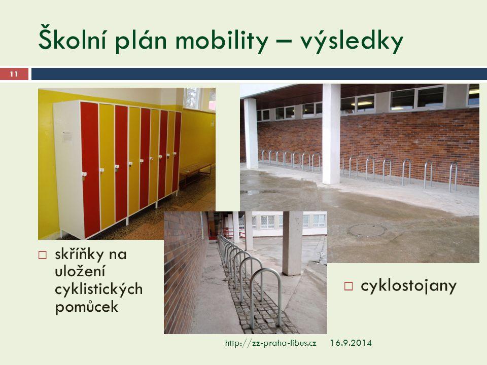 Školní plán mobility – výsledky 16.9.2014http://zz-praha-libus.cz 11  skříňky na uložení cyklistických pomůcek  cyklostojany
