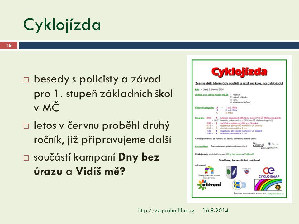Cyklojízda 16.9.2014http://zz-praha-libus.cz 16  besedy s policisty a závod pro 1. stupeň základních škol v MČ  letos v červnu proběhl druhý ročník,