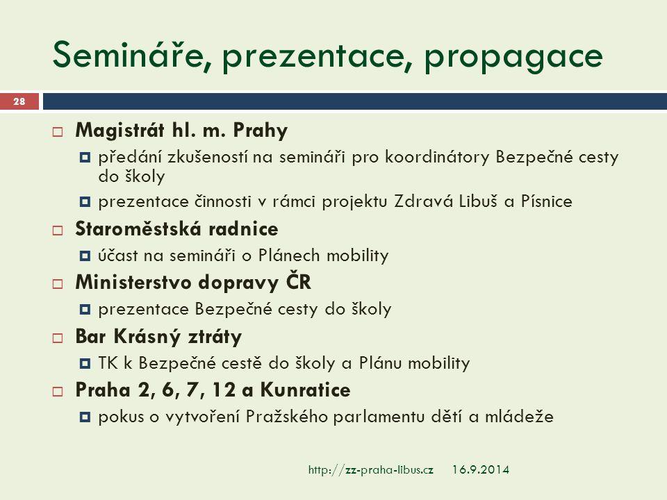 Semináře, prezentace, propagace 16.9.2014http://zz-praha-libus.cz 28  Magistrát hl. m. Prahy  předání zkušeností na semináři pro koordinátory Bezpeč