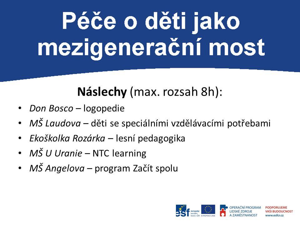 Náslechy (max. rozsah 8h): Don Bosco – logopedie MŠ Laudova – děti se speciálními vzdělávacími potřebami Ekoškolka Rozárka – lesní pedagogika MŠ U Ura
