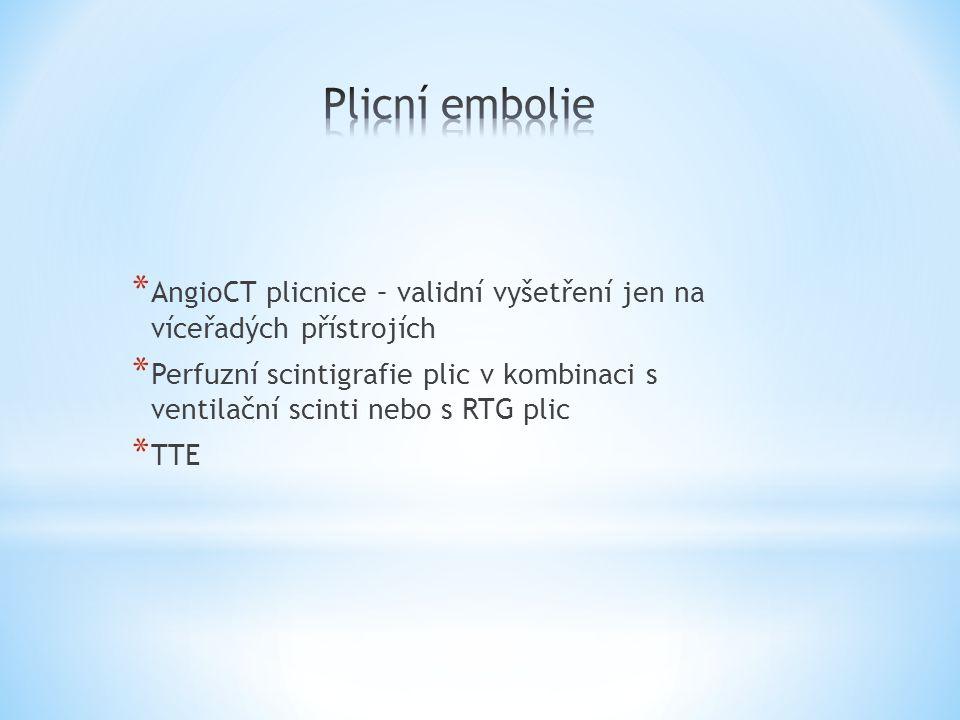 * AngioCT plicnice – validní vyšetření jen na víceřadých přístrojích * Perfuzní scintigrafie plic v kombinaci s ventilační scinti nebo s RTG plic * TT