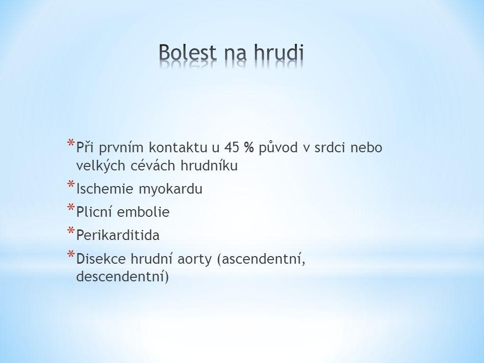 * Při prvním kontaktu u 45 % původ v srdci nebo velkých cévách hrudníku * Ischemie myokardu * Plicní embolie * Perikarditida * Disekce hrudní aorty (a