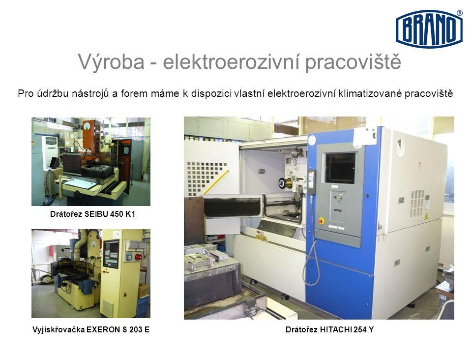 Výroba - elektroerozivní pracoviště Pro údržbu nástrojů a forem máme k dispozici vlastní elektroerozivní klimatizované pracoviště Vyjiskřovačka EXERON S 203 E Drátořez SEIBU 450 K1 Drátořez HITACHI 254 Y