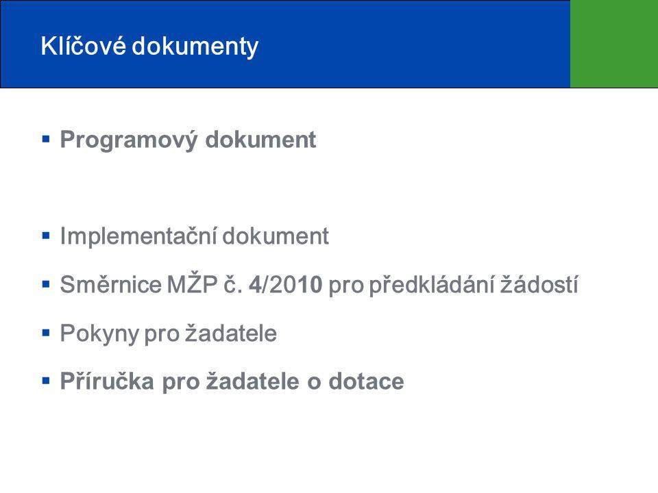 Klíčové dokumenty  Programový dokument  Implementační dokument  Směrnice MŽP č. 4 /20 10 pro předkládání žádostí  Pokyny pro žadatele  Příručka p