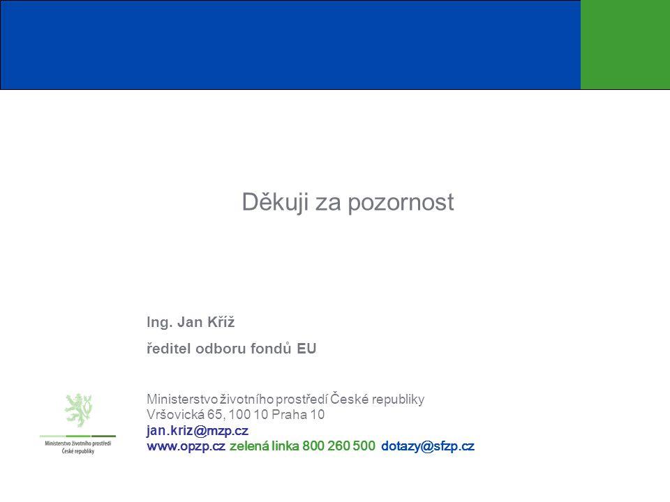 Děkuji za pozornost Ing. Jan Kříž ředitel odboru fondů EU Ministerstvo životního prostředí České republiky Vršovická 65, 100 1 0 Praha 10 jan. kriz @m