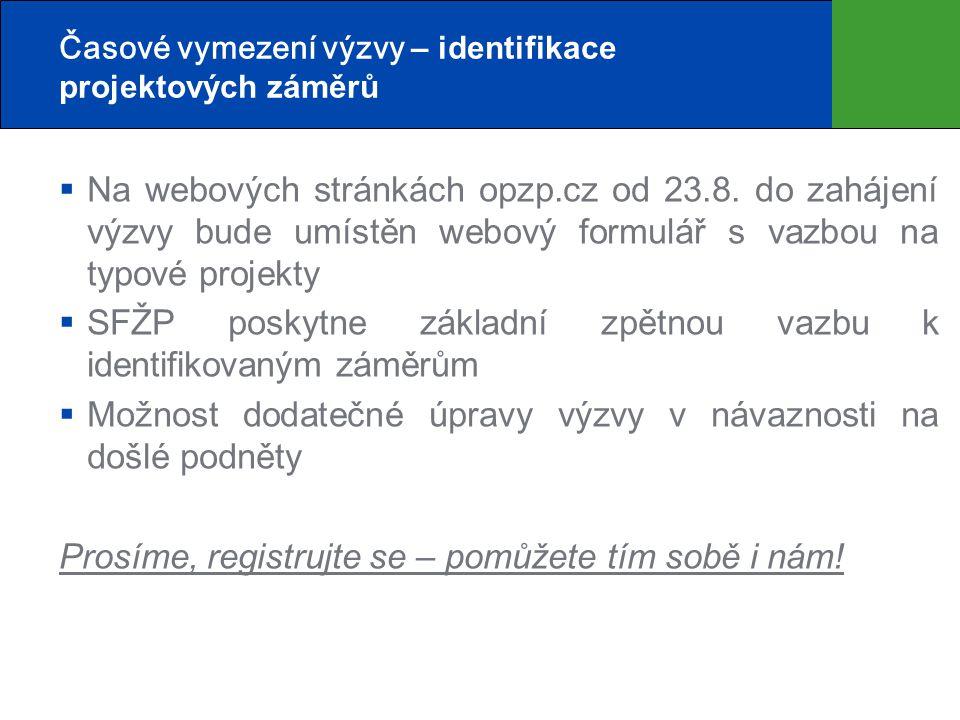 Časové vymezení výzvy – identifikace projektových záměrů  Na webových stránkách opzp.cz od 23.8. do zahájení výzvy bude umístěn webový formulář s vaz