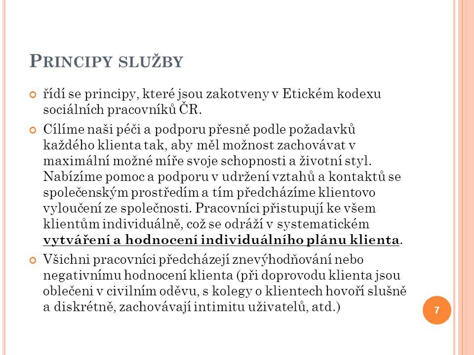 P RINCIPY SLUŽBY řídí se principy, které jsou zakotveny v Etickém kodexu sociálních pracovníků ČR.