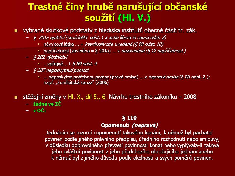 Trestné činy hrubě narušující občanské soužití (Hl. V.) vybrané skutkové podstaty z hlediska institutů obecné části tr. zák. vybrané skutkové podstaty