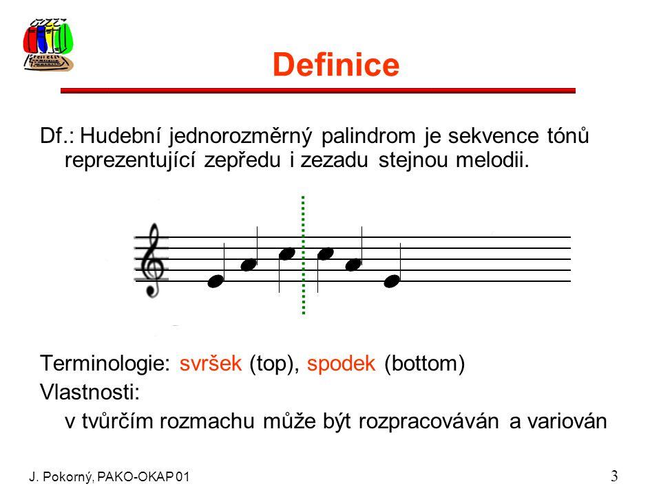J. Pokorný, PAKO-OKAP 01 3 Definice Df.: Hudební jednorozměrný palindrom je sekvence tónů reprezentující zepředu i zezadu stejnou melodii. Terminologi