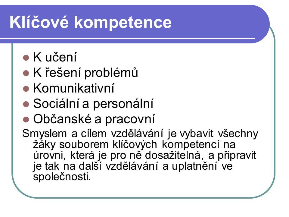 Klíčové kompetence K učení K řešení problémů Komunikativní Sociální a personální Občanské a pracovní Smyslem a cílem vzdělávání je vybavit všechny žák