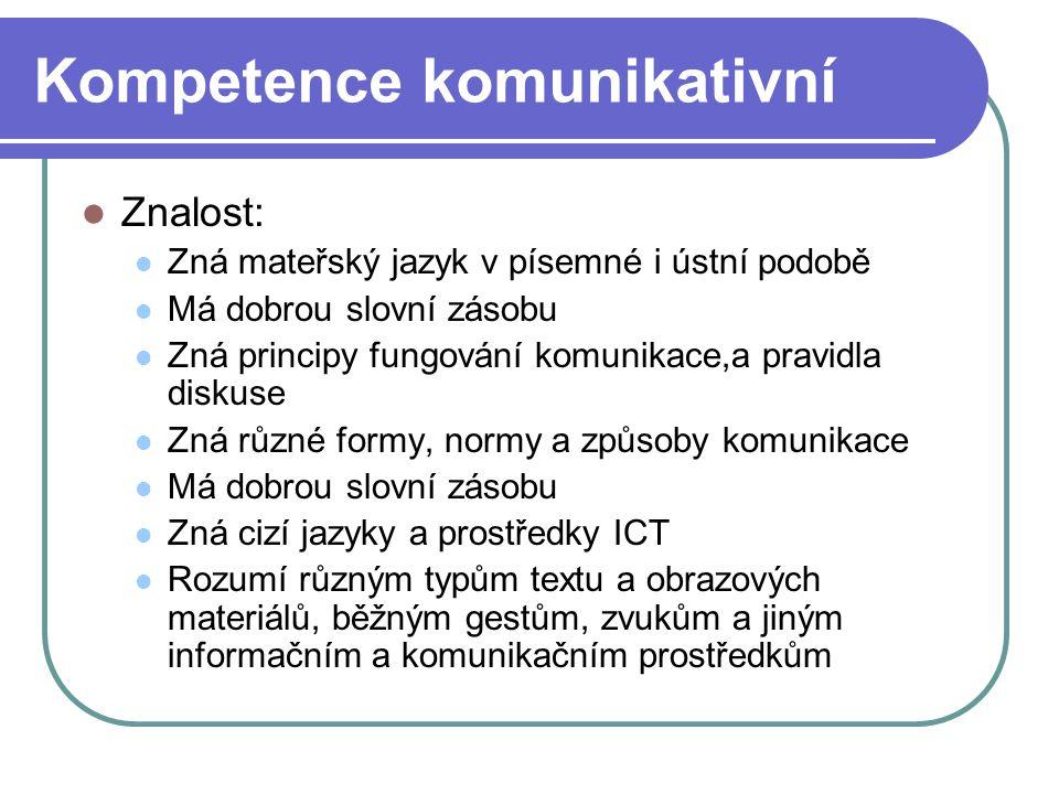 Kompetence komunikativní Znalost: Zná mateřský jazyk v písemné i ústní podobě Má dobrou slovní zásobu Zná principy fungování komunikace,a pravidla dis