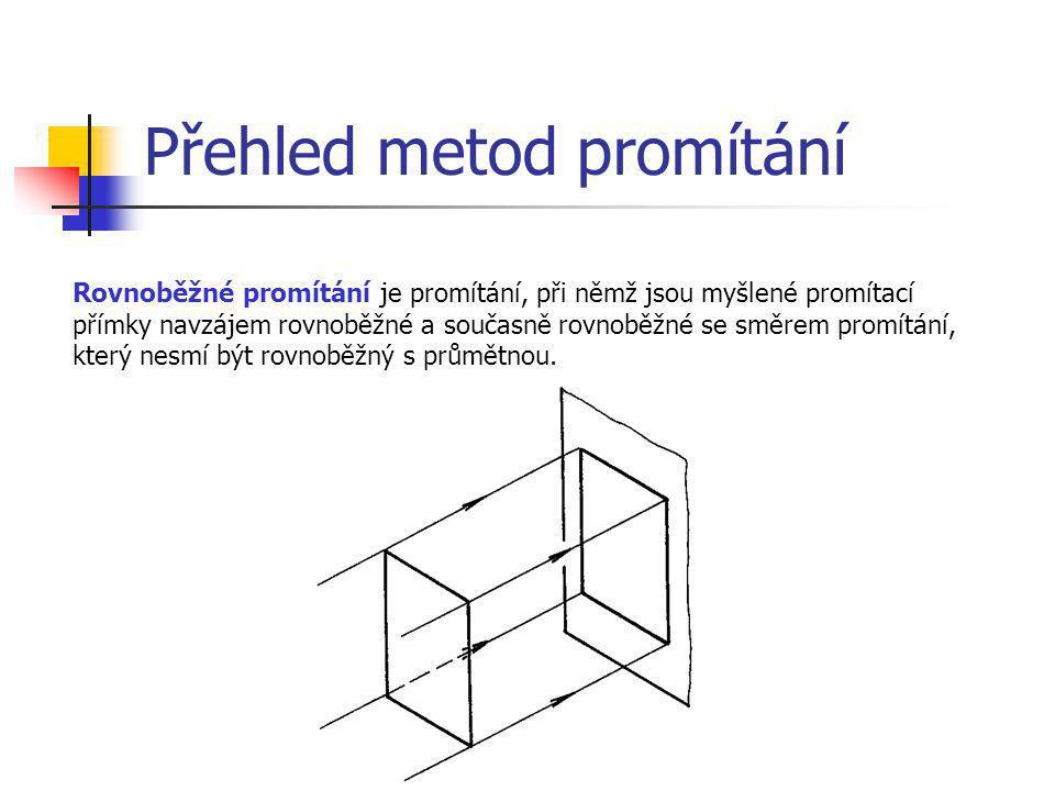 Přehled metod promítání Rovnoběžné promítání je promítání, při němž jsou myšlené promítací přímky navzájem rovnoběžné a současně rovnoběžné se směrem