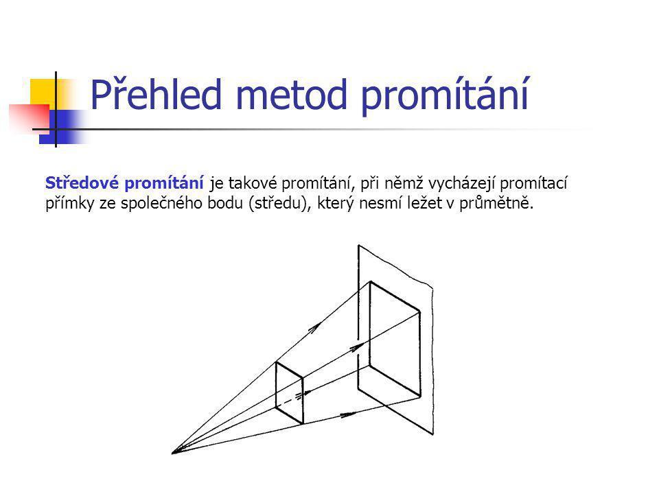 Přehled metod promítání Středové promítání je takové promítání, při němž vycházejí promítací přímky ze společného bodu (středu), který nesmí ležet v p