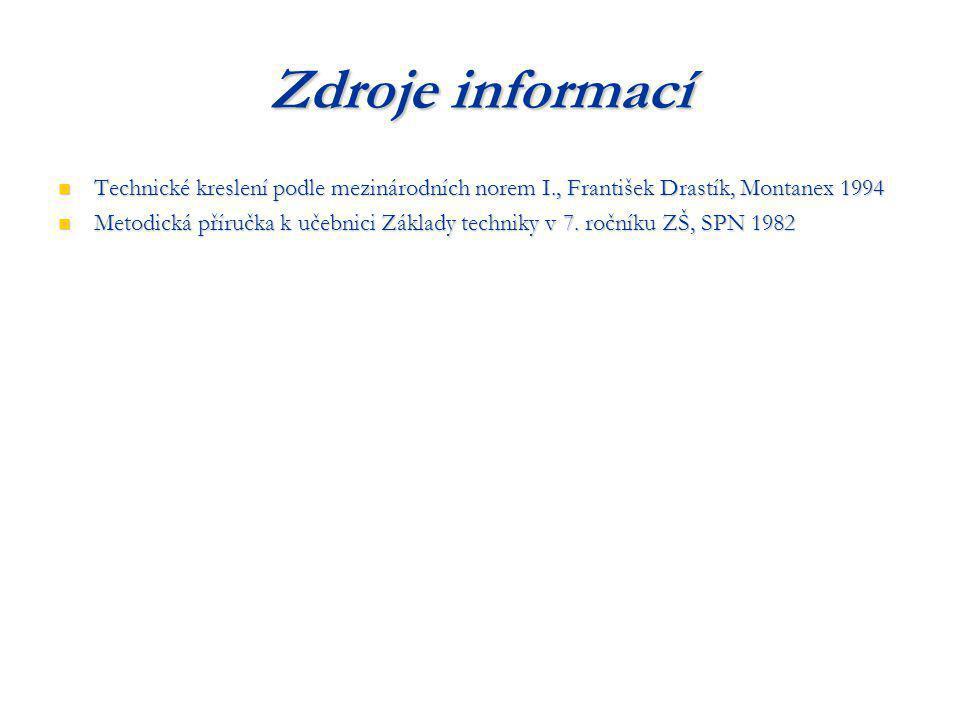 Zdroje informací Technické kreslení podle mezinárodních norem I., František Drastík, Montanex 1994 Technické kreslení podle mezinárodních norem I., Fr