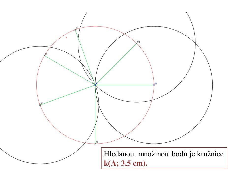 Hledanou množinou bodů je kružnice k(A; 3,5 cm).