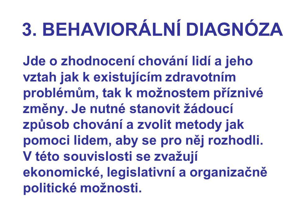 3. BEHAVIORÁLNÍ DIAGNÓZA Jde o zhodnocení chování lidí a jeho vztah jak k existujícím zdravotním problémům, tak k možnostem příznivé změny. Je nutné s