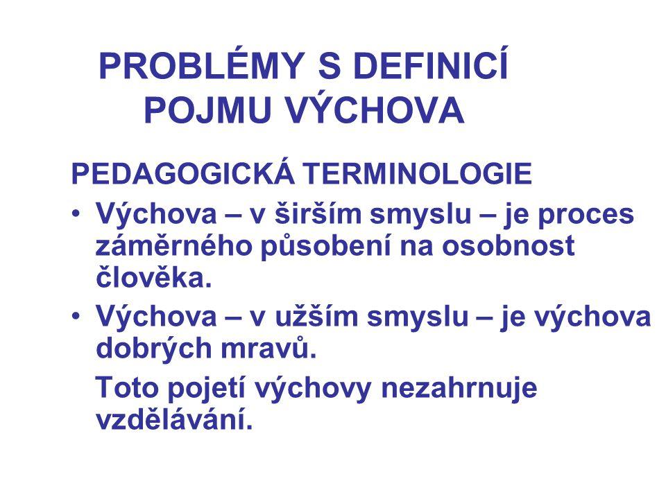 PROBLÉMY S DEFINICÍ POJMU VÝCHOVA PEDAGOGICKÁ TERMINOLOGIE Výchova – v širším smyslu – je proces záměrného působení na osobnost člověka. Výchova – v u