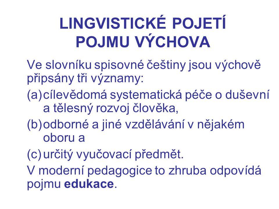 LINGVISTICKÉ POJETÍ POJMU VÝCHOVA Ve slovníku spisovné češtiny jsou výchově připsány tři významy: (a)cílevědomá systematická péče o duševní a tělesný