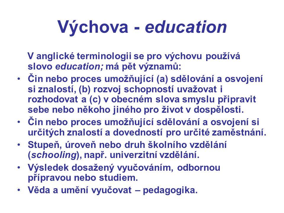 Výchova - education V anglické terminologii se pro výchovu používá slovo education; má pět významů: Čin nebo proces umožňující (a) sdělování a osvojen