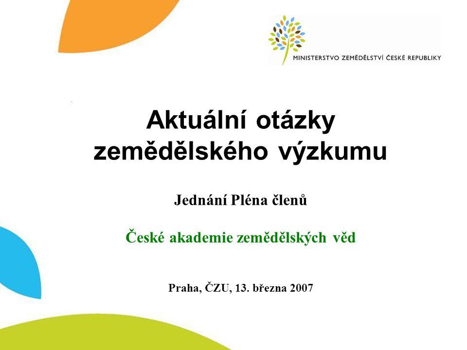 MZe – resortní VVZ Ministerstvo zemědělství Resortní vědecko – výzkumná základna Veřejné výzkumné instituce (v.v.i.) Specializované příspěvkové organizace (SPO) Výzkumné ústavy – obchodní společnosti (a.s., s.r.o.) Veřejné vysoké školy 3.750 osob / 2.414 výzk.