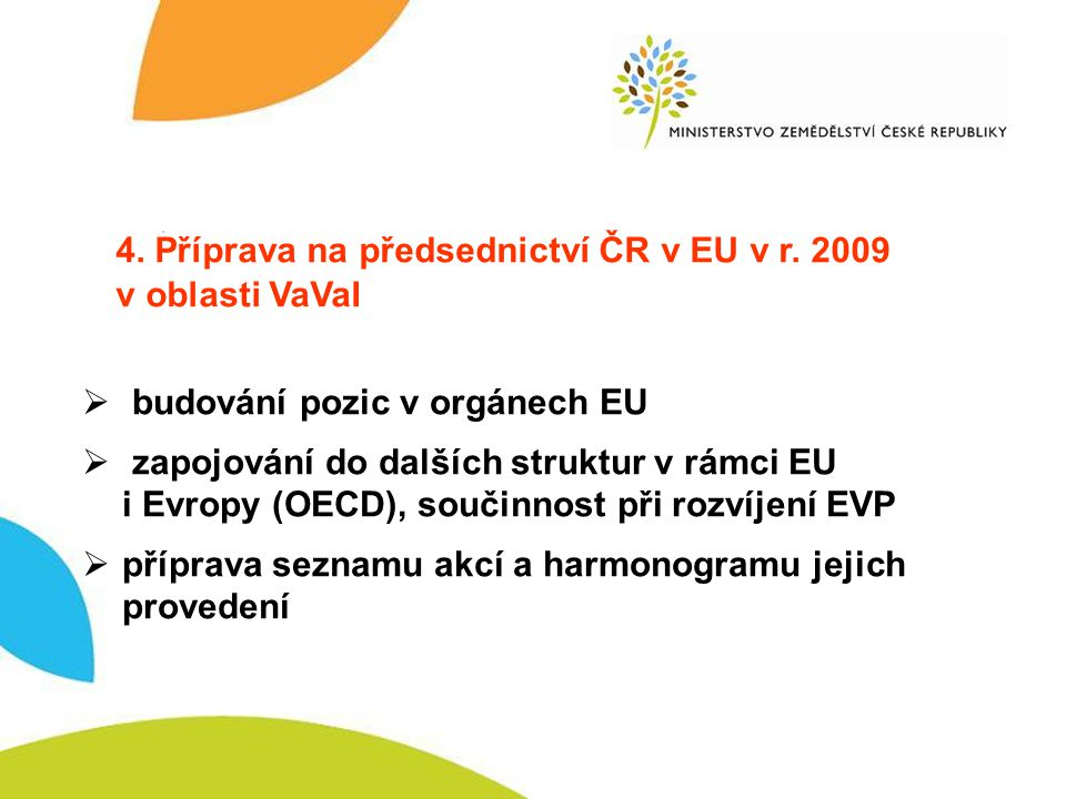 Předsednictví EU 4. Příprava na předsednictví ČR v EU v r.