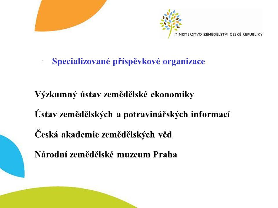 Specializované příspěvkové organizace Výzkumný ústav zemědělské ekonomiky Ústav zemědělských a potravinářských informací Česká akademie zemědělských věd Národní zemědělské muzeum Praha Specializované příspěvkové organizace