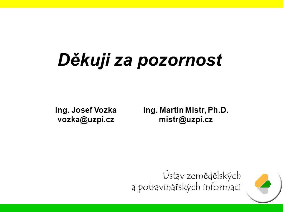 Děkuji za pozornost Ústav zemědělských a potravinářských informací Ing. Josef Vozka vozka@uzpi.cz Ing. Martin Mistr, Ph.D. mistr@uzpi.cz