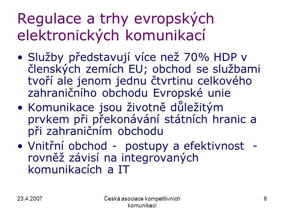 23.4.2007Česká asociace kompetitivních komunikací 6 Regulace a trhy evropských elektronických komunikací Služby představují více než 70% HDP v členských zemích EU; obchod se službami tvoří ale jenom jednu čtvrtinu celkového zahraničního obchodu Evropské unie Komunikace jsou životně důležitým prvkem při překonávání státních hranic a při zahraničním obchodu Vnitřní obchod - postupy a efektivnost - rovněž závisí na integrovaných komunikacích a IT