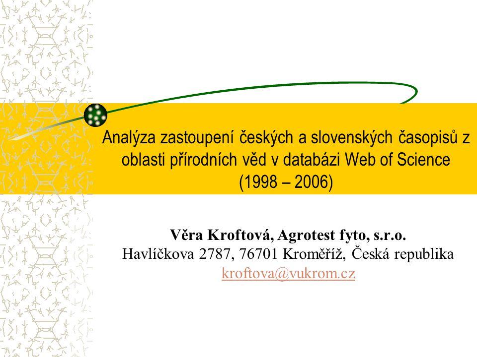 Analýza zastoupení českých a slovenských časopisů z oblasti přírodních věd v databázi Web of Science (1998 – 2006) Věra Kroftová, Agrotest fyto, s.r.o.