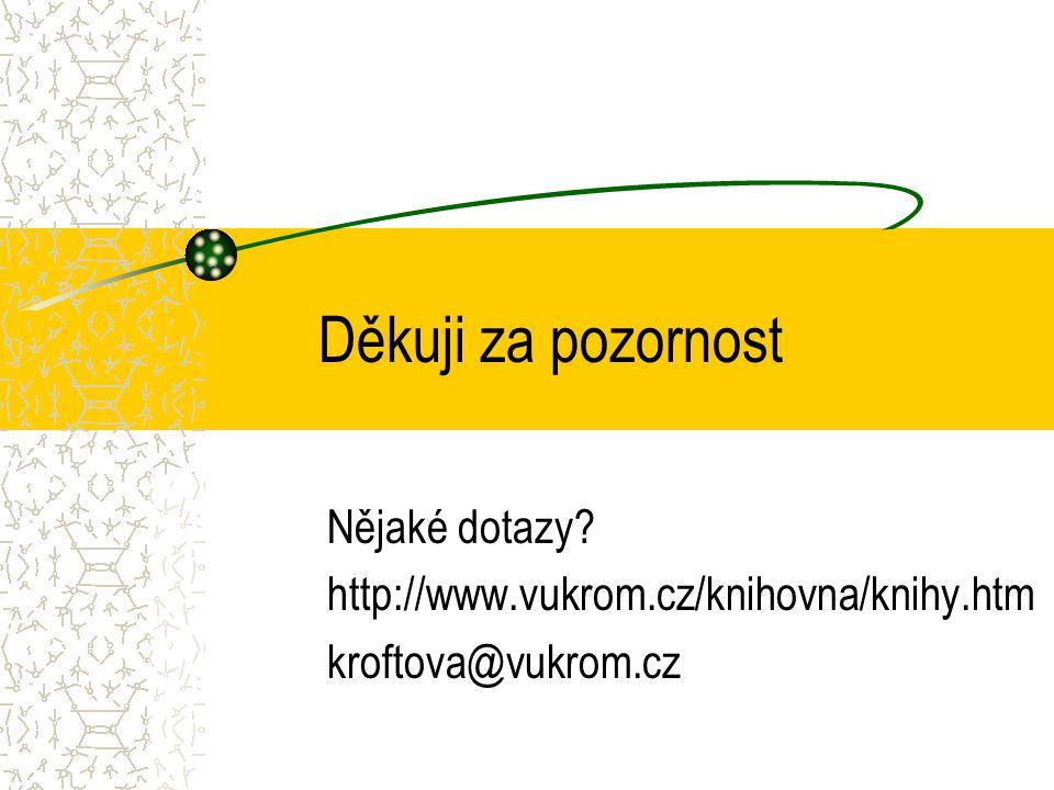 Děkuji za pozornost Nějaké dotazy http://www.vukrom.cz/knihovna/knihy.htm kroftova@vukrom.cz