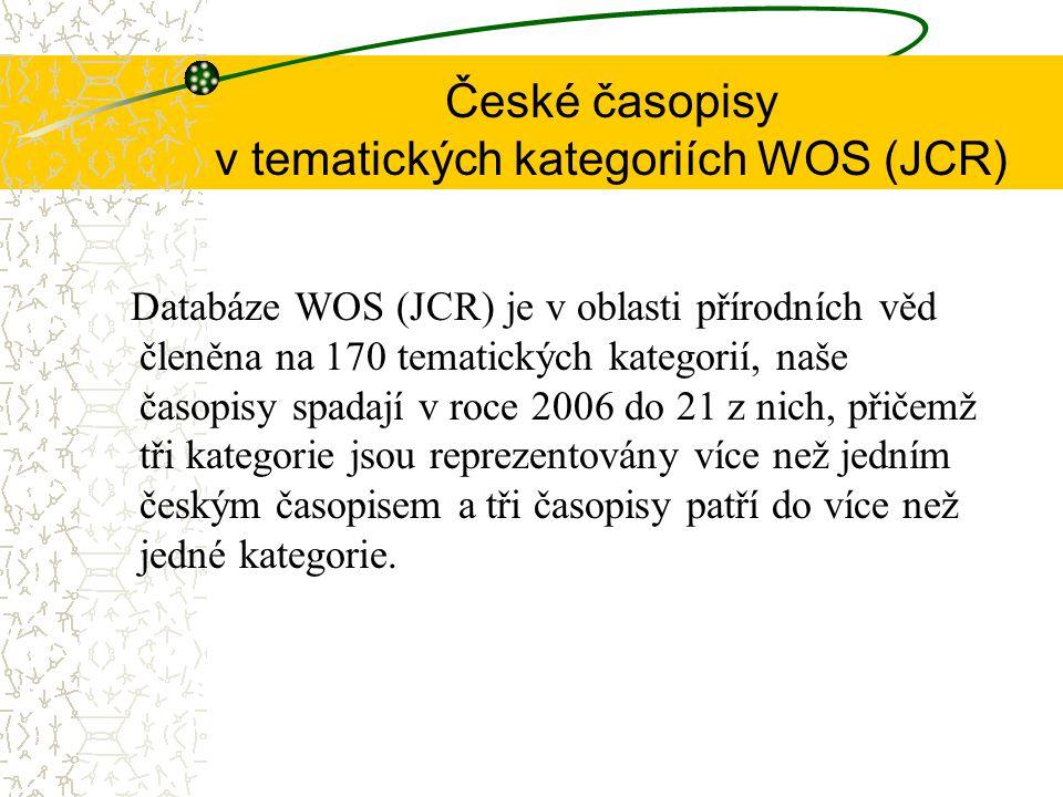 České časopisy v tematických kategoriích WOS (JCR) Databáze WOS (JCR) je v oblasti přírodních věd členěna na 170 tematických kategorií, naše časopisy spadají v roce 2006 do 21 z nich, přičemž tři kategorie jsou reprezentovány více než jedním českým časopisem a tři časopisy patří do více než jedné kategorie.