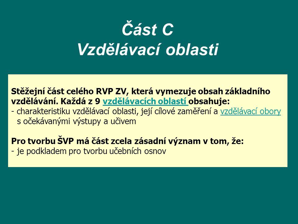 Část C Vzdělávací oblasti Stěžejní část celého RVP ZV, která vymezuje obsah základního vzdělávání. Každá z 9 vzdělávacích oblastí obsahuje:vzdělávacíc