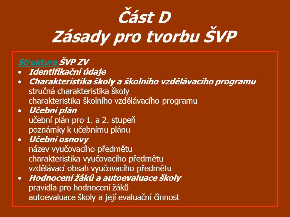 Část D Zásady pro tvorbu ŠVP Struktura Struktura ŠVP ZV Identifikační údaje Charakteristika školy a školního vzdělávacího programu stručná charakteris