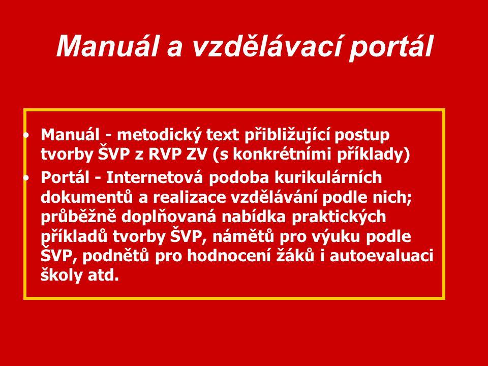 Manuál a vzdělávací portál Manuál - metodický text přibližující postup tvorby ŠVP z RVP ZV (s konkrétními příklady) Portál - Internetová podoba kuriku