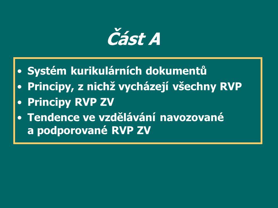 Část A Vstupní část vymezuje: - základní vztahy v kurikulární reformě a místo RVP ZV v systému kurikulárních dokumentůvztahy - základní principy, na nichž je RVP ZV budován - inovativní tendence ve vzdělávání navozované a podporované RVP ZVinovativní tendence Pro tvorbu ŠVP nemá tato část přímý význam, jde spíše: -o pochopení základních vztahů a tendencí a jejich promítnutí do způsobu uvažovaní o vzdělávání na dané škole, o ŠVP a jeho konkrétní podobě
