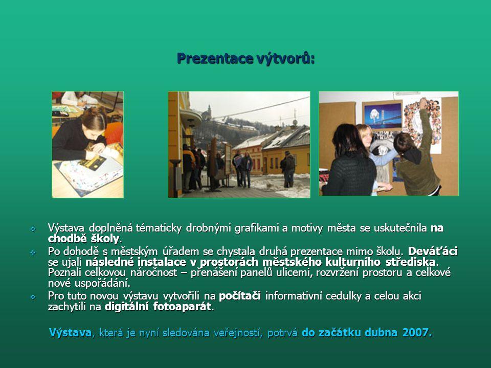 Prezentace výtvorů:  Výstava doplněná tématicky drobnými grafikami a motivy města se uskutečnila na chodbě školy.  Po dohodě s městským úřadem se ch