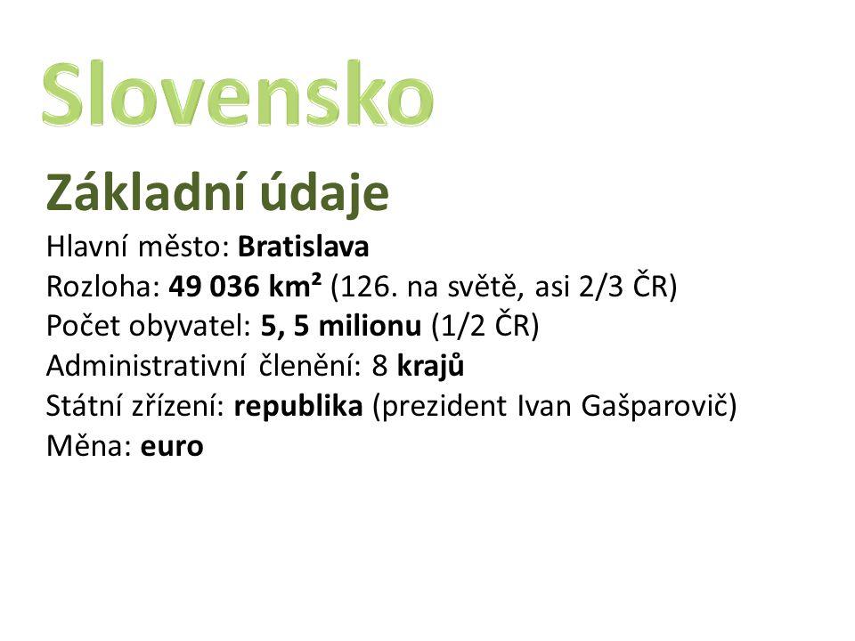 Základní údaje Hlavní město: Bratislava Rozloha: 49 036 km² (126. na světě, asi 2/3 ČR) Počet obyvatel: 5, 5 milionu (1/2 ČR) Administrativní členění: