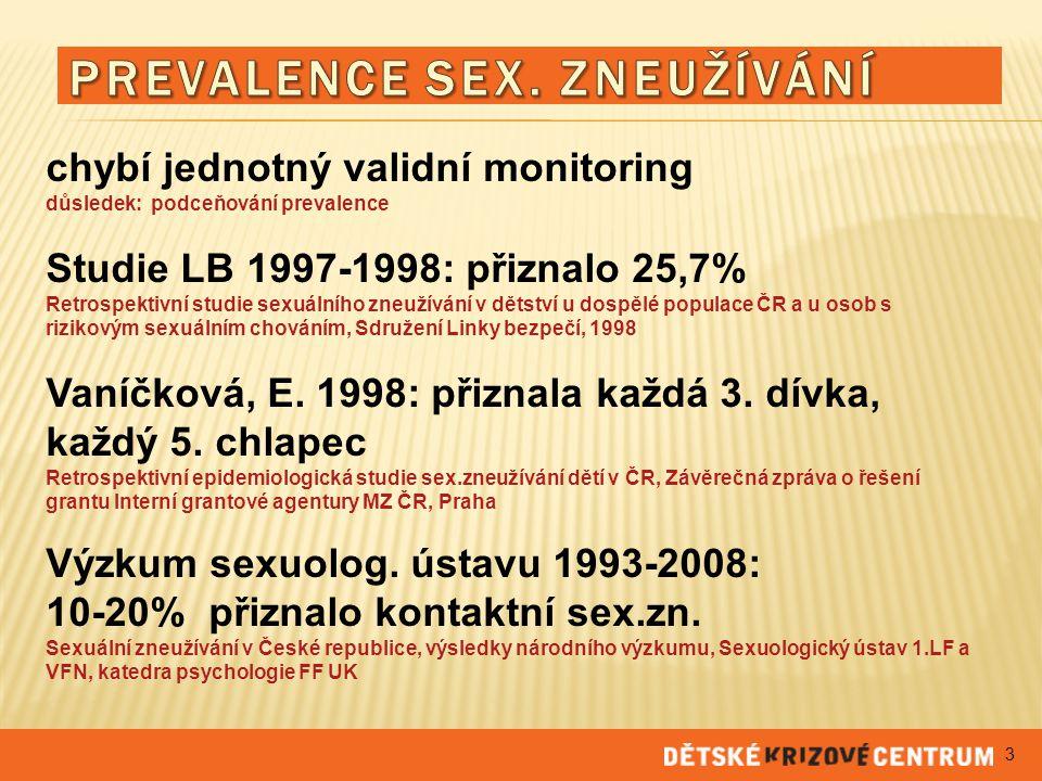 chybí jednotný validní monitoring důsledek: podceňování prevalence Studie LB 1997-1998: přiznalo 25,7% Retrospektivní studie sexuálního zneužívání v d